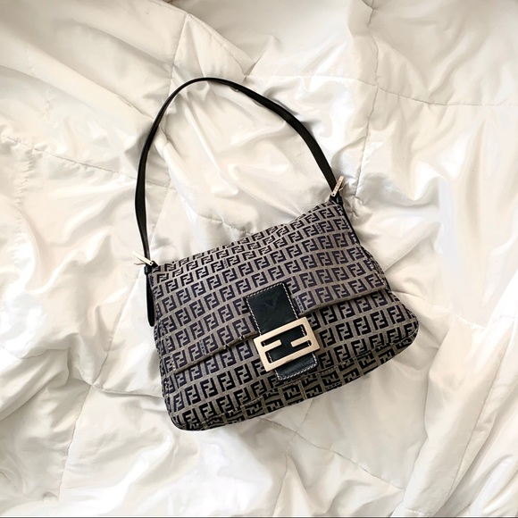 Fendi Handbags - SOLD Fendi Zucchino Navy Mama Bag